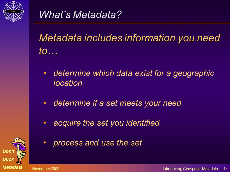Don't Duck Metadata November 2000 Introducing Geospatial Metadata ---14 What's Metadata.