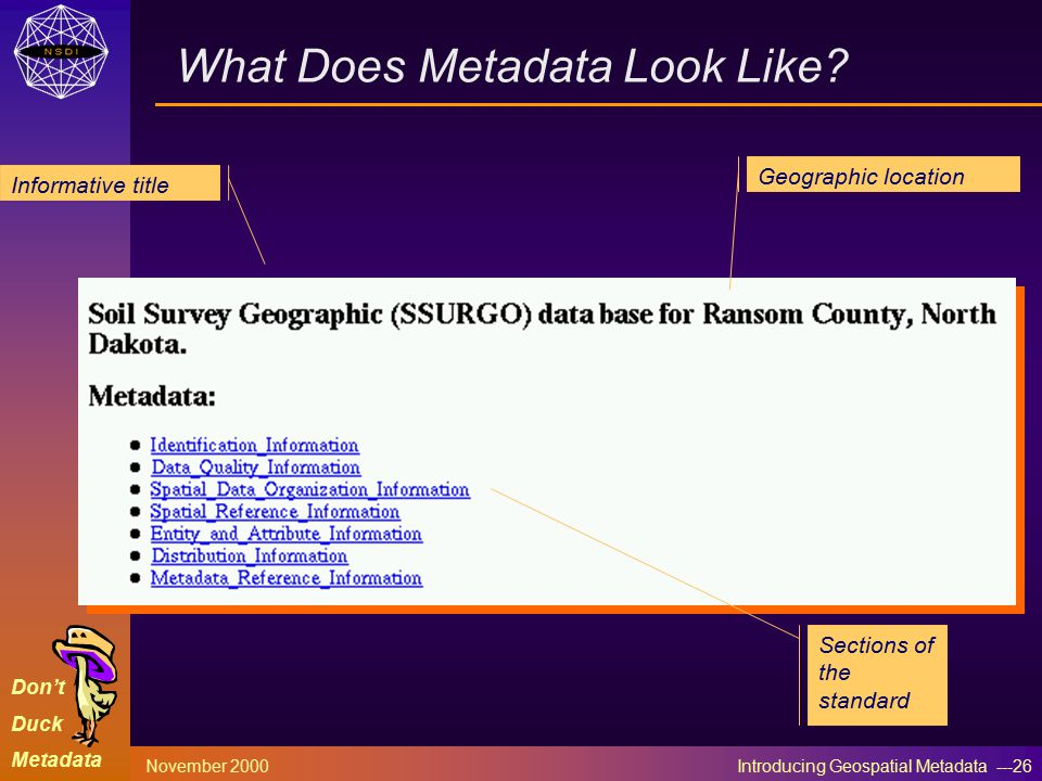 Don't Duck Metadata November 2000 Introducing Geospatial Metadata ---26 What Does Metadata Look Like.
