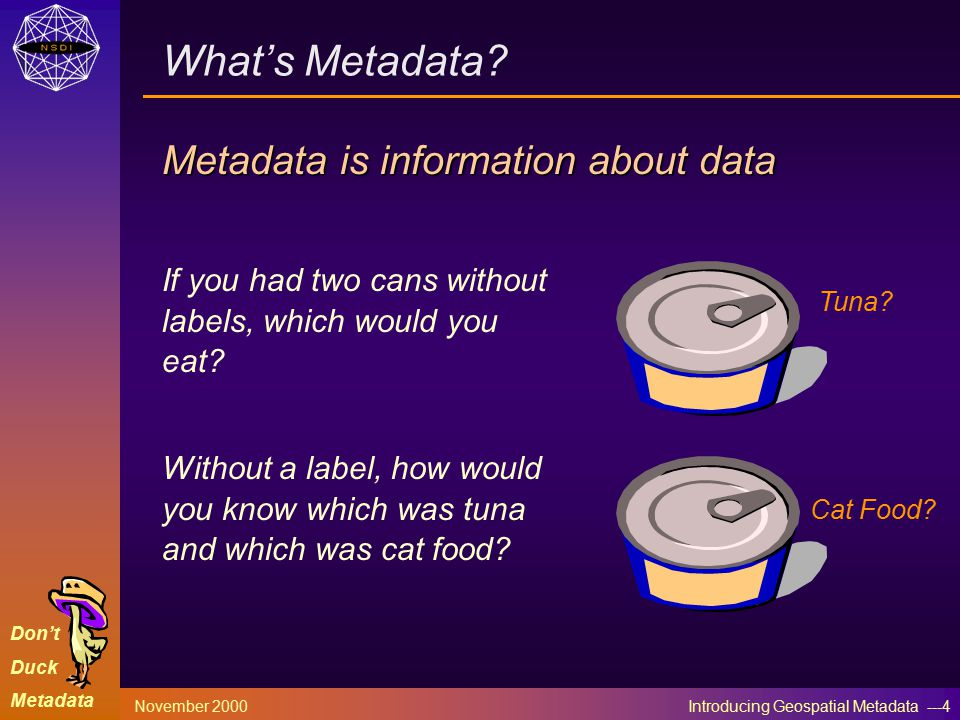 Don't Duck Metadata November 2000 Introducing Geospatial Metadata ---4 What's Metadata? Metadata is information about data If you had two cans without