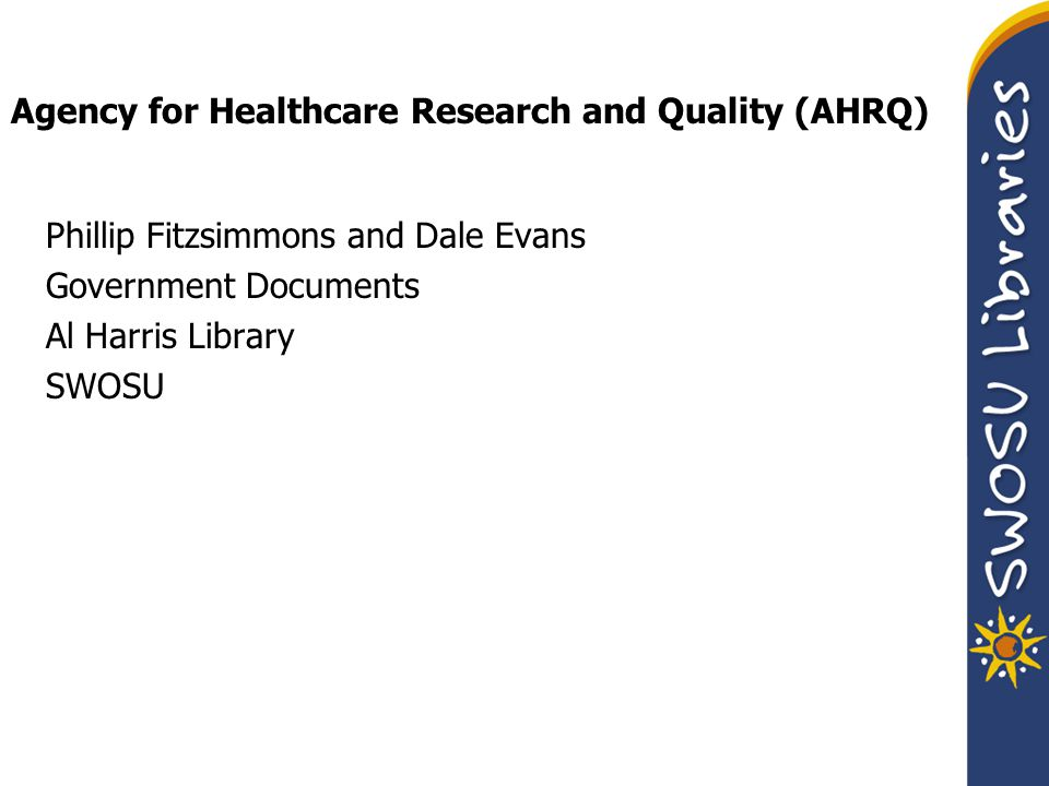 Main functions: AHRQ sponsors and conducts research that provides evidence-based information on health care outcomes; quality; and cost, use, and access.