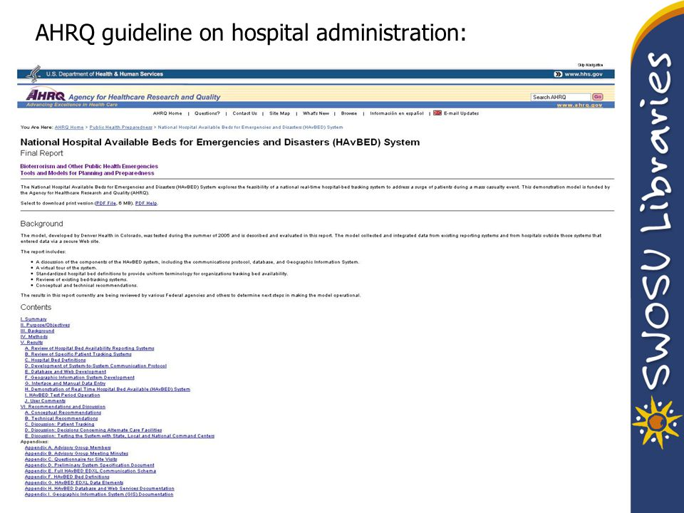 AHRQ guideline on hospital administration:
