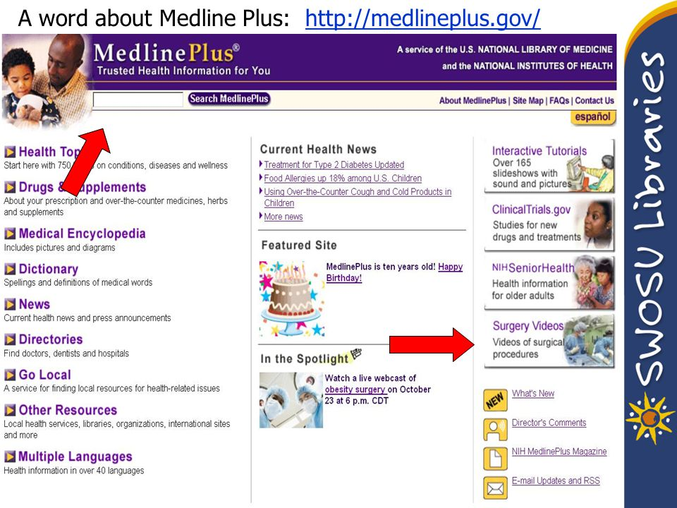 A word about Medline Plus: http://medlineplus.gov/http://medlineplus.gov/