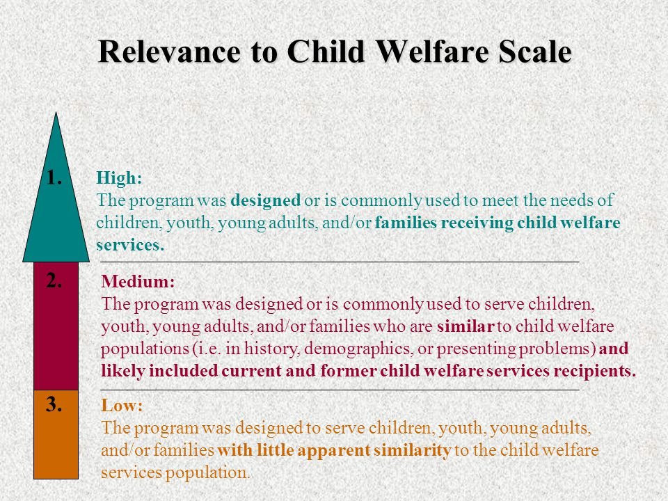 Child Welfare Ratings Not every program that is evidence-based will work in a Child Welfare setting… We also examined each program's experience and fi