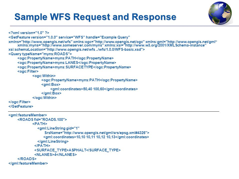 Sample WFS Request and Response <GetFeature version= 1.0.0 service= WFS handle= Example Query xmlns= http://www.opengis.net/wfs xmlns:ogc= http://www.opengis.net/ogc xmlns:gml= http://www.opengis.net/gml xmlns:myns= http://www.someserver.com/myns xmlns:xsi= http://www.w3.org/2001/XMLSchema-instance xsi:schemaLocation= http://www.opengis.net/wfs../wfs/1.0.0/WFS-basic.xsd > myns:PATH myns:LANES myns:SURFACETYPE myns:PATH 50,40 100,60 <gml:LineString gid= 1 SrsName= http://www.opengis.net/gml/srs/epsg.xml#4326 > 10,10 10,11 10,12 10,13 ASPHALT 4