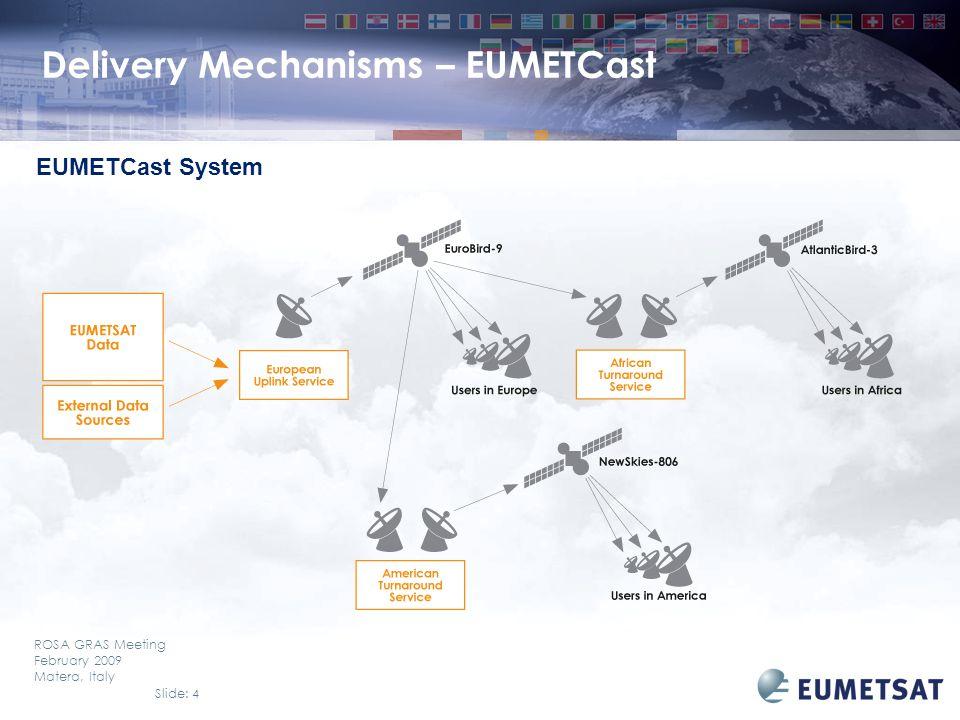 Slide: 4 ROSA GRAS Meeting February 2009 Matera, Italy EUMETCast System Delivery Mechanisms – EUMETCast