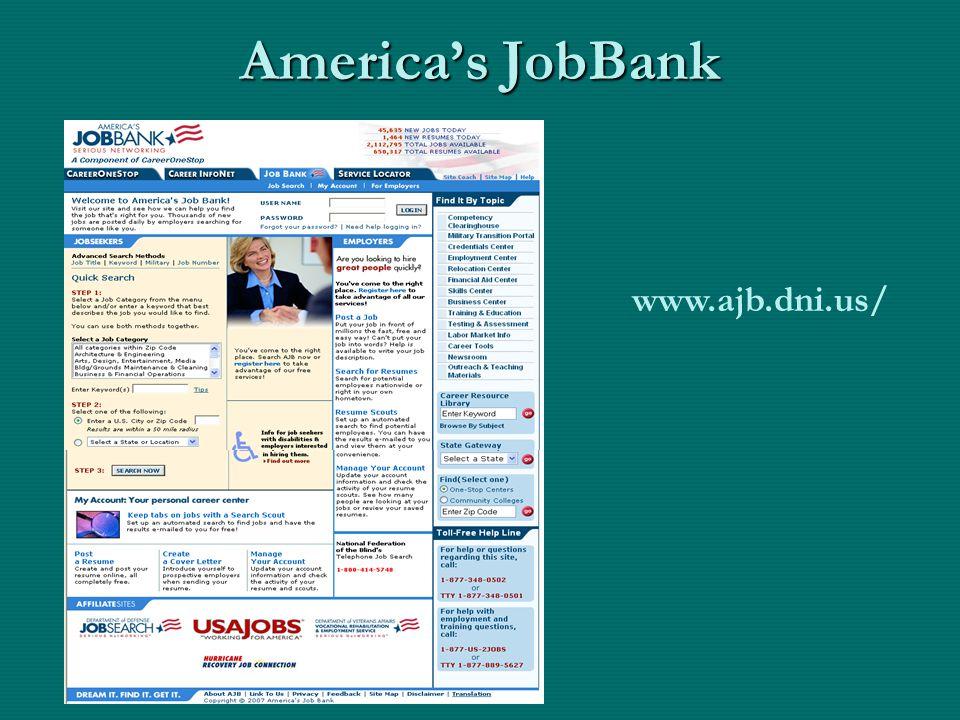 America's JobBank www.ajb.dni.us/