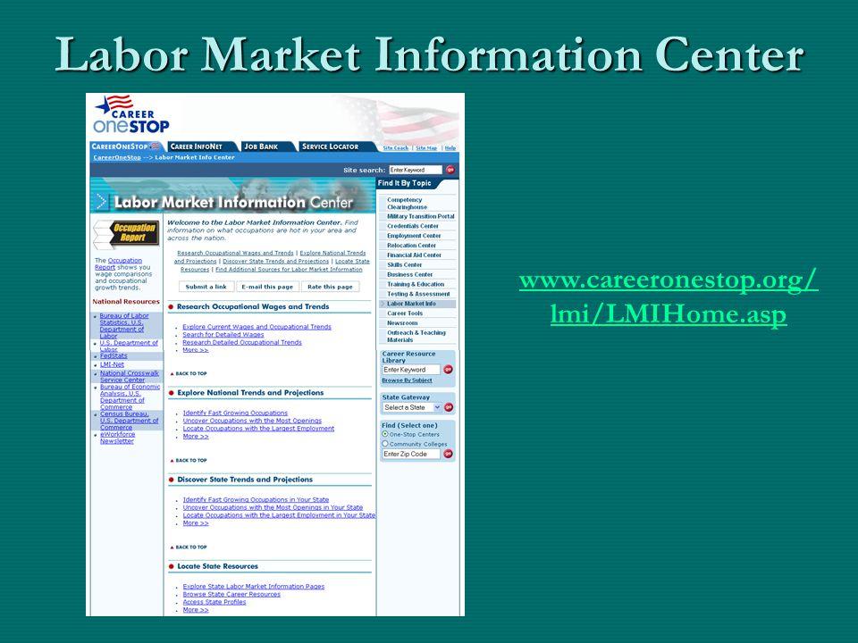 Labor Market Information Center www.careeronestop.org/ www.careeronestop.org/ lmi/LMIHome.asp