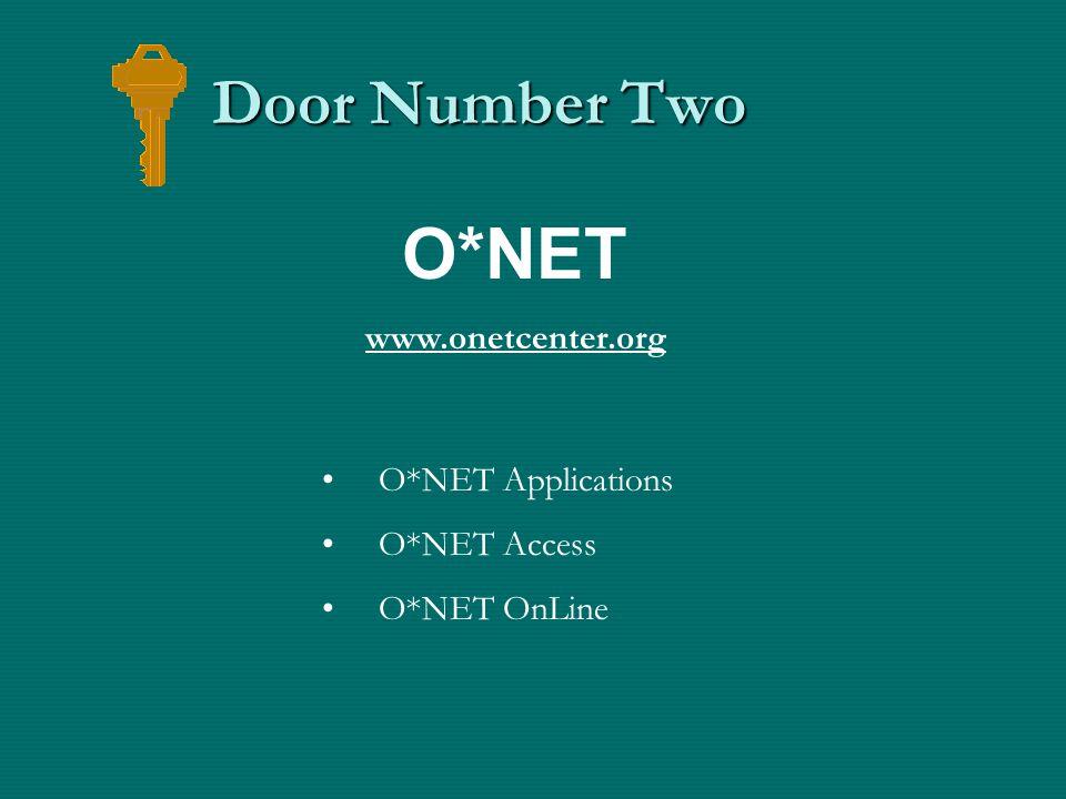 Door Number Two O*NET Applications O*NET Access O*NET OnLine O*NET www.onetcenter.org