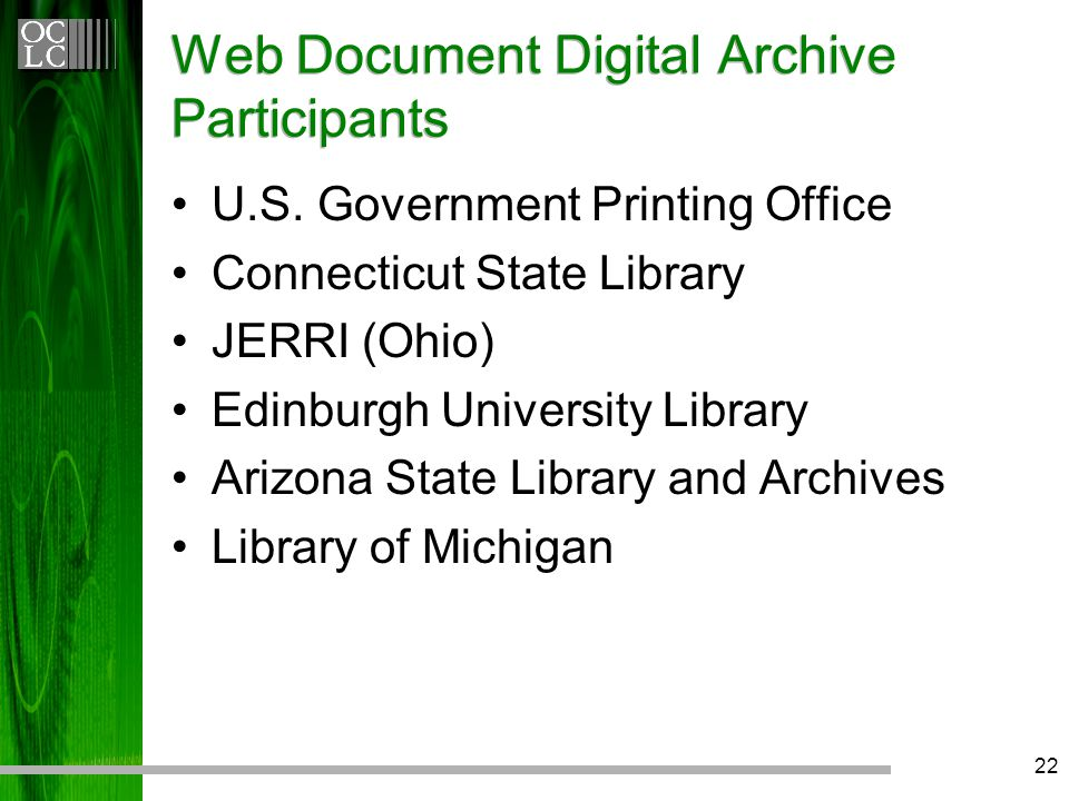22 Web Document Digital Archive Participants U.S.