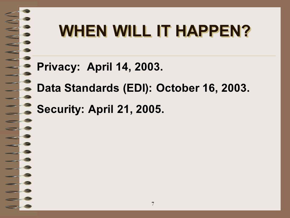7 WHEN WILL IT HAPPEN? Privacy: April 14, 2003. Data Standards (EDI): October 16, 2003. Security: April 21, 2005.