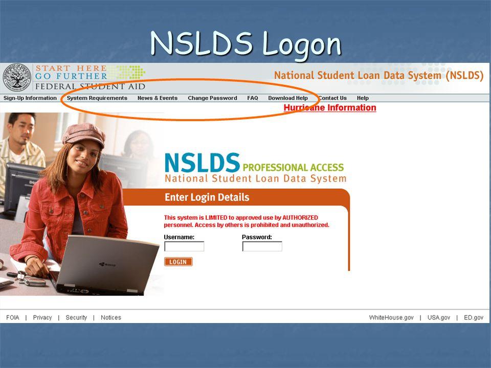 NSLDS Logon