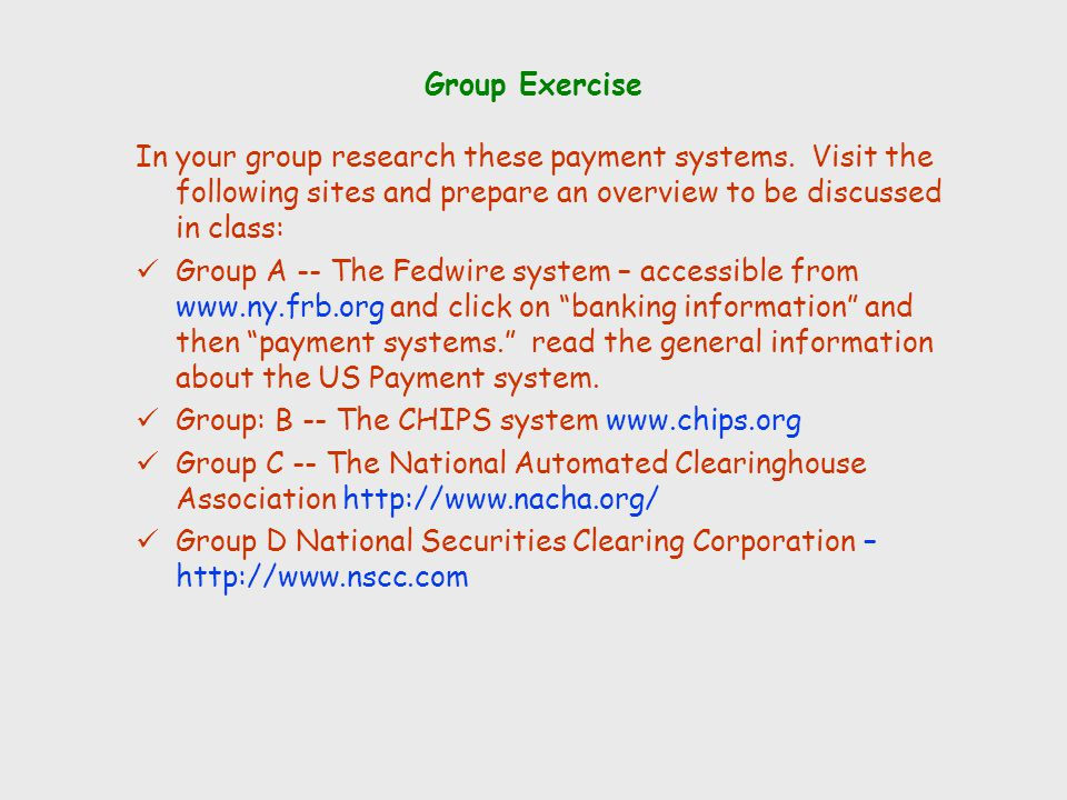 Group Exercise In your group research these payment systems. Visit the following sites and prepare an overview to be discussed in class: Group A -- Th