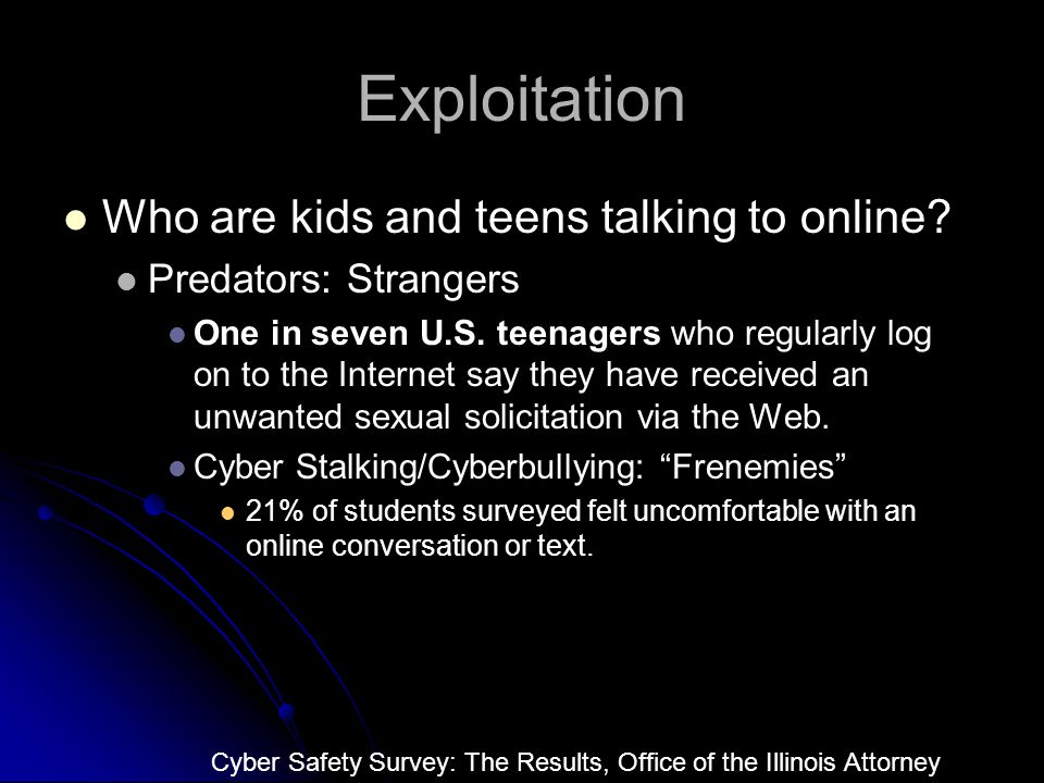 Exploitation Who are kids and teens talking to online.