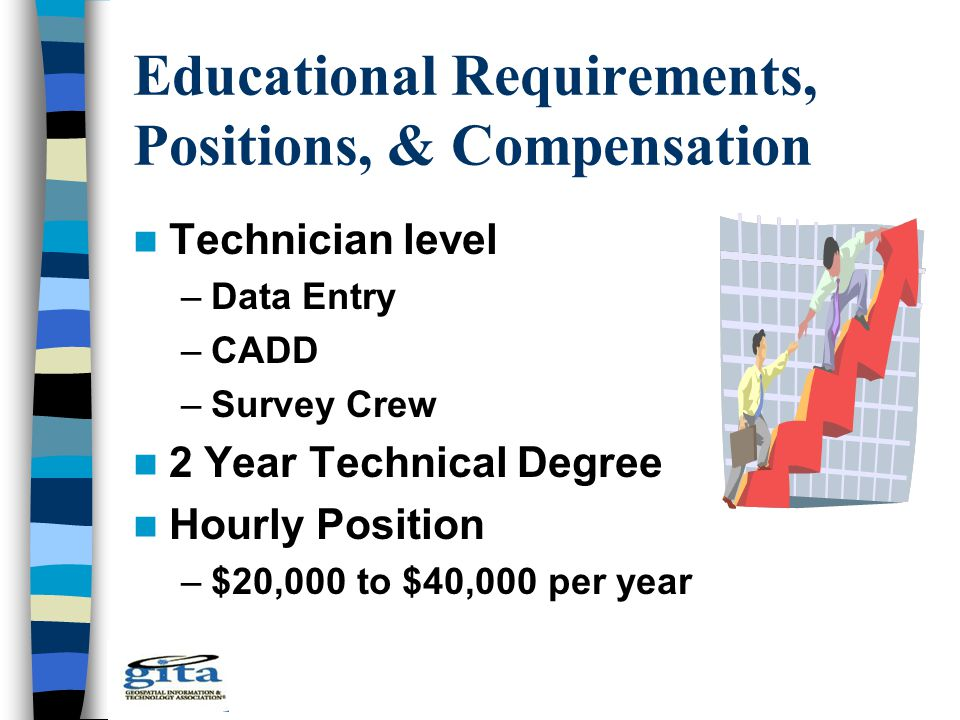 Educational Requirements, Positions, & Compensation Technician level –Data Entry –CADD –Survey Crew 2 Year Technical Degree Hourly Position –$20,000 t