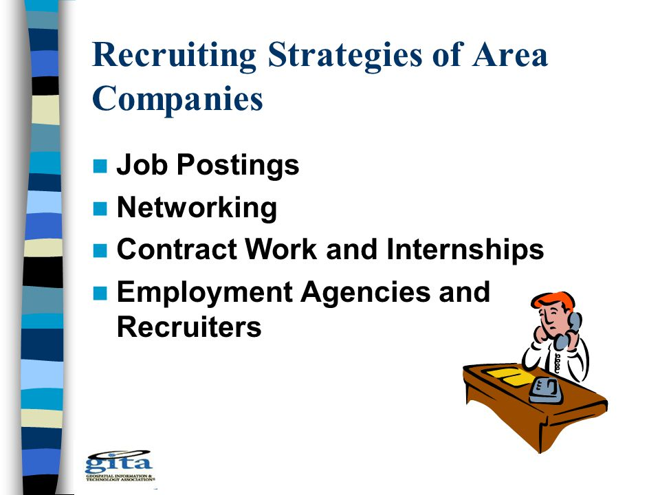 Recruiting Strategies of Area Companies Job Postings Networking Contract Work and Internships Employment Agencies and Recruiters