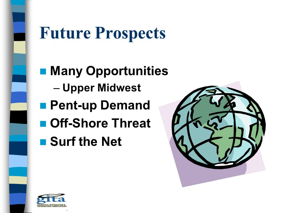 Future Prospects Many Opportunities –Upper Midwest Pent-up Demand Off-Shore Threat Surf the Net