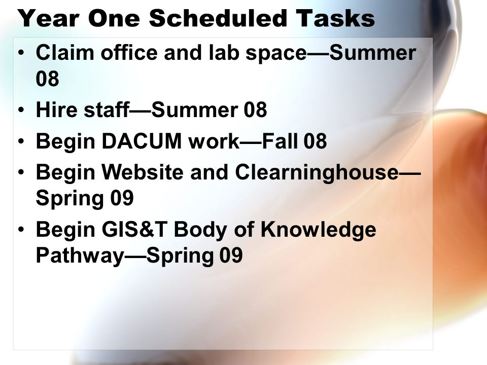 Year One Scheduled Tasks Claim office and lab space—Summer 08 Hire staff—Summer 08 Begin DACUM work—Fall 08 Begin Website and Clearninghouse— Spring 09 Begin GIS&T Body of Knowledge Pathway—Spring 09