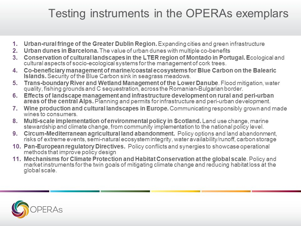 Testing instruments in the OPERAs exemplars 1.Urban-rural fringe of the Greater Dublin Region.