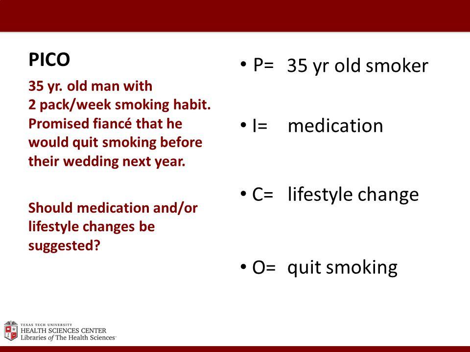 PICO 35 yr. old man with 2 pack/week smoking habit.