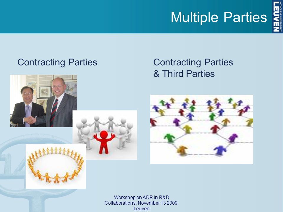 Workshop on ADR in R&D Collaborations, November 13 2009, Leuven Multiple Parties Contracting Parties & Third Parties