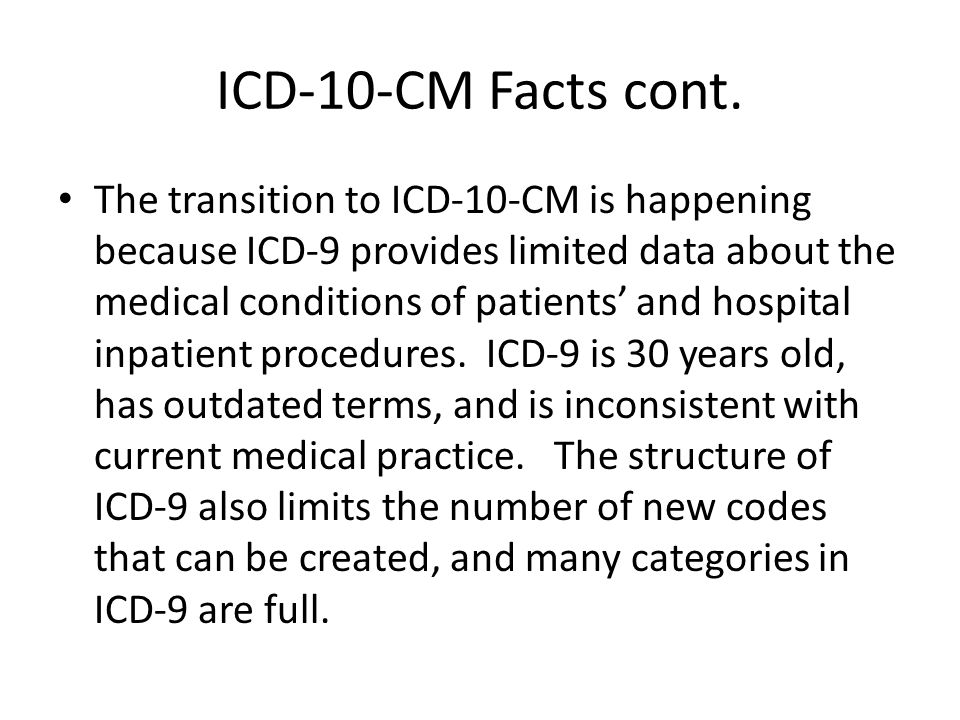 Use of GEMs Appropriate Usage: Convert multiple databases from ICD-9-CM to ICD-10-CM Variety of research applications involving data trend Inappropriate Usage: Crosswalks- There is not a one -to-one match between ICD-9-CM and ICD-10-CM codes, for a multitude of reasons (e.g.