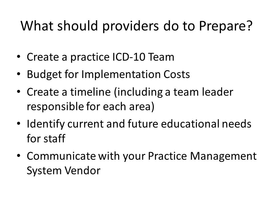 What should providers do to Prepare.