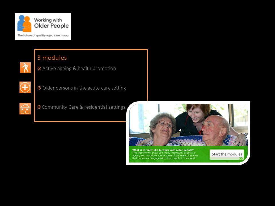 3 modules  Active ageing & health promotion  Older persons in the acute care setting  Community Care & residential settings