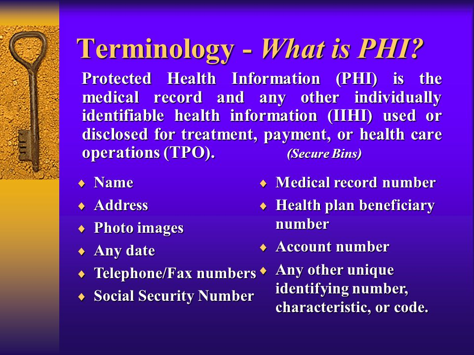 Terminology - What is PHI.