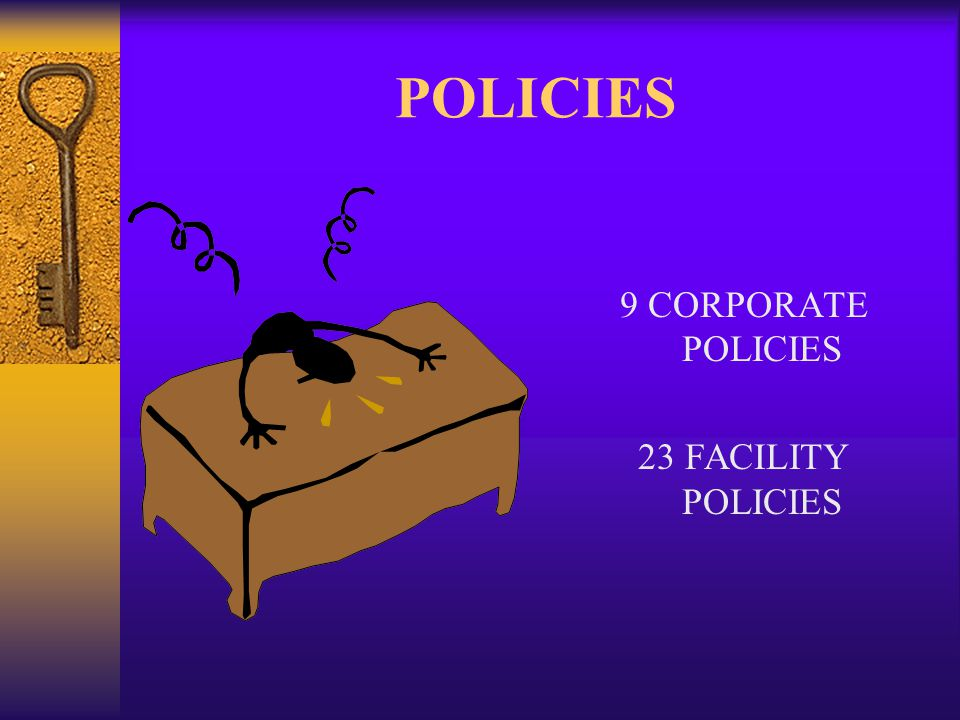 POLICIES 9 CORPORATE POLICIES 23 FACILITY POLICIES