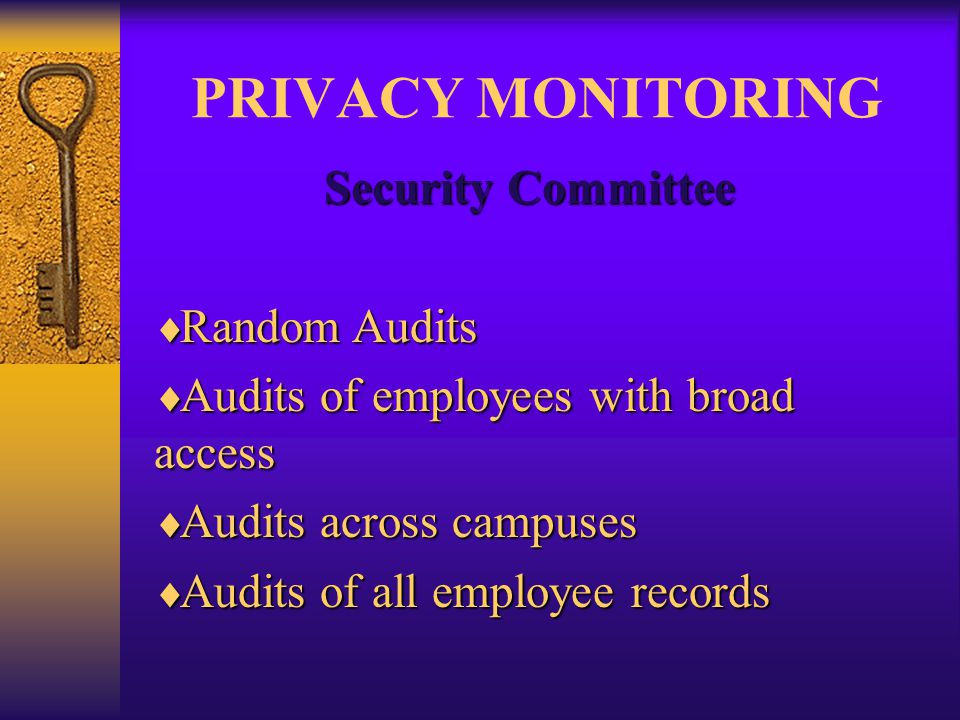 PRIVACY MONITORING Security Committee  Random Audits  Audits of employees with broad access  Audits across campuses  Audits of all employee records
