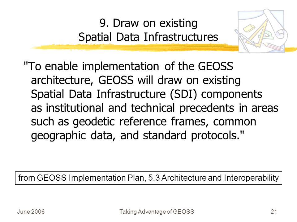 June 2006Taking Advantage of GEOSS21 To enable implementation of the GEOSS architecture, GEOSS will draw on existing Spatial Data Infrastructure (SDI) components as institutional and technical precedents in areas such as geodetic reference frames, common geographic data, and standard protocols. 9.
