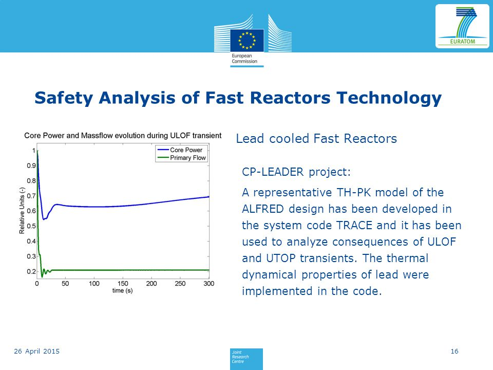 Safety Analysis of Fast Reactors Technology Lead cooled Fast Reactors CP-LEADER project: A representative TH-PK model of the ALFRED design has been developed in the system code TRACE and it has been used to analyze consequences of ULOF and UTOP transients.