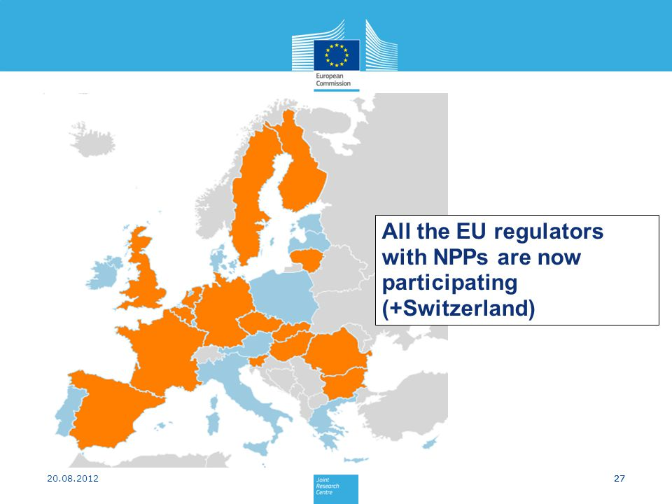 27 All the EU regulators with NPPs are now participating (+Switzerland) 20.08.201227