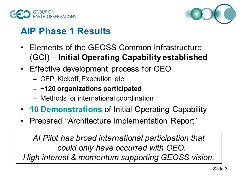 AIP Phase 1 Results Phase 1 results established in 2007 64 Components & 75 Services registered (21 Nov 07) Interoperability Arrangement recommendations to SIF User interfaces to services –GEO Portals: Compusult, ESA, ESRI –Community Portals (27) –Application Clients (13) Multiple organizations providing –GEOSS Clearinghouse –Community Catalogues –Data Services Slide 4