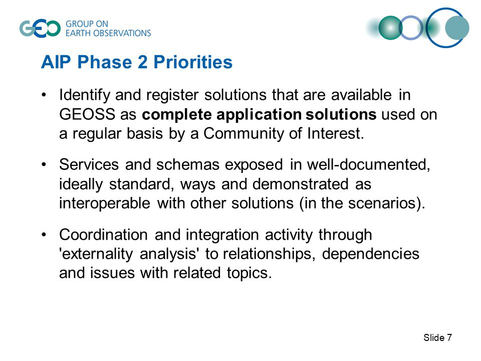 AIP Phase 2 Priorities Identify and register solutions that are available in GEOSS as complete application solutions used on a regular basis by a Community of Interest.