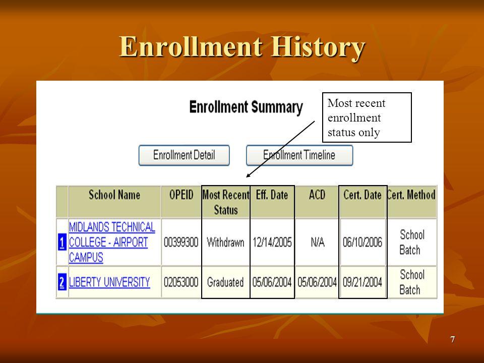 7 Enrollment History Most recent enrollment status only
