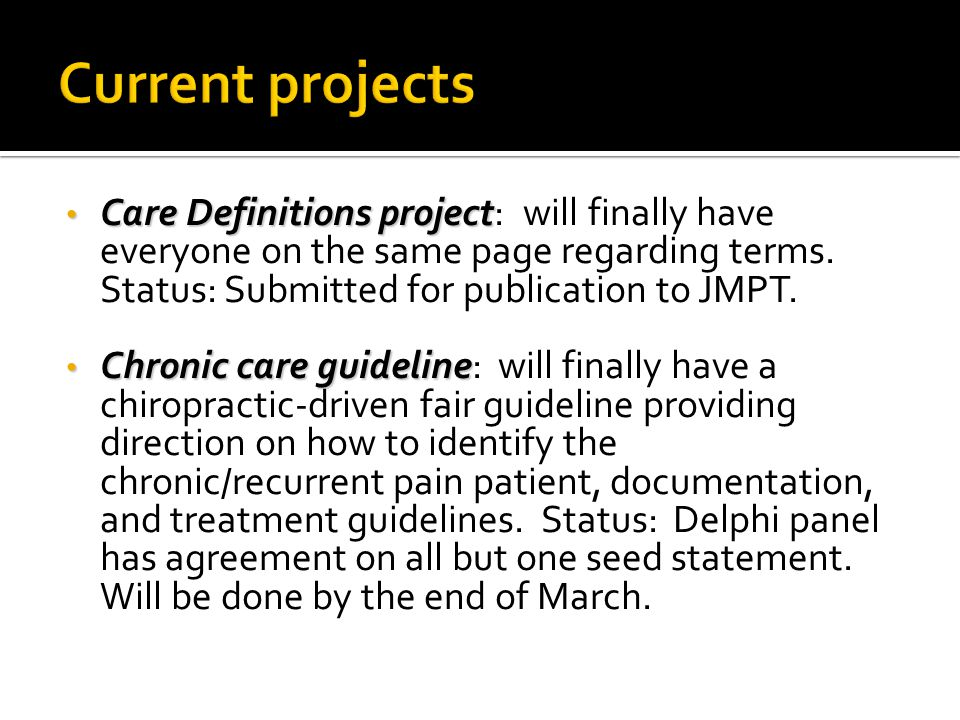 Care Definitions project Care Definitions project: will finally have everyone on the same page regarding terms.