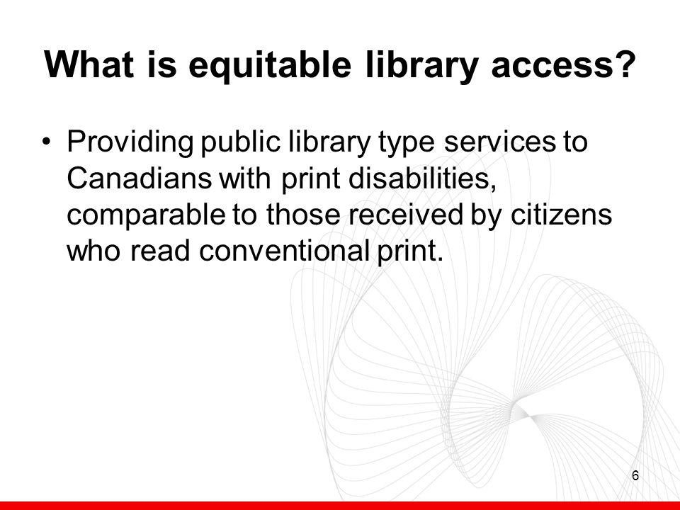 6 What is equitable library access.