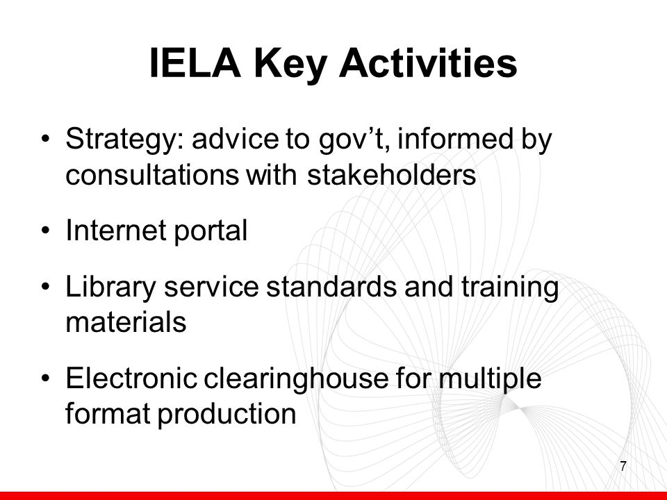 7 IELA Key Activities Strategy: advice to gov't, informed by consultations with stakeholders Internet portal Library service standards and training ma
