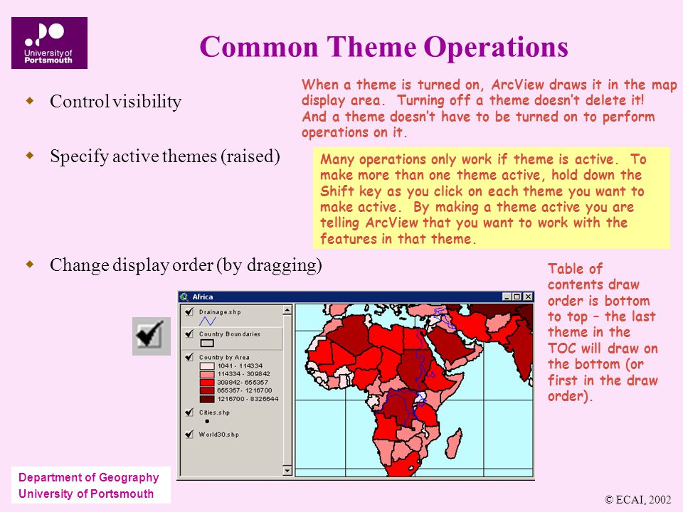 Department of Geography University of Portsmouth Common Theme Operations  Control visibility  Specify active themes (raised)  Change display order (by dragging) When a theme is turned on, ArcView draws it in the map display area.