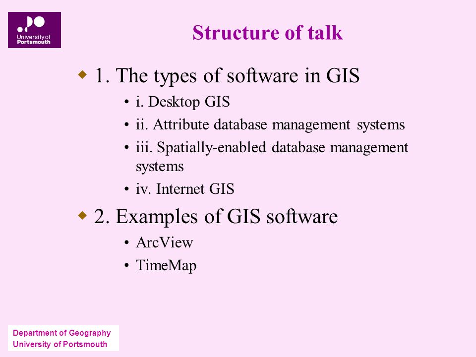 Department of Geography University of Portsmouth Structure of talk  1.