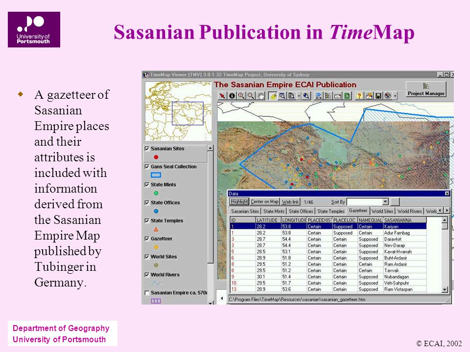 Department of Geography University of Portsmouth Sasanian Publication in TimeMap  A gazetteer of Sasanian Empire places and their attributes is included with information derived from the Sasanian Empire Map published by Tubinger in Germany.