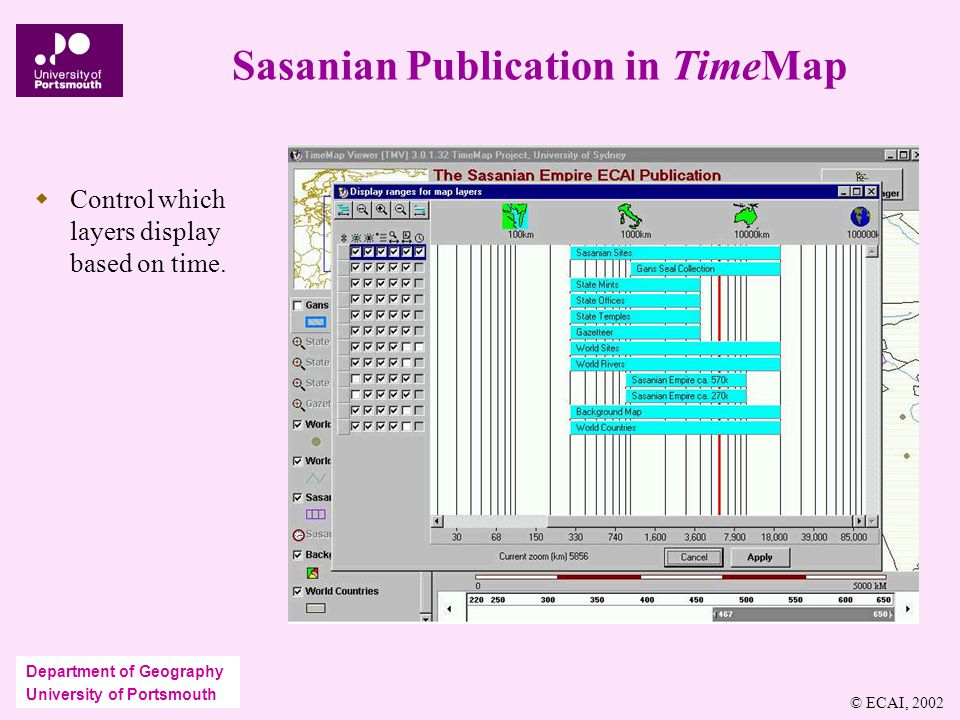Department of Geography University of Portsmouth Sasanian Publication in TimeMap  Control which layers display based on time.
