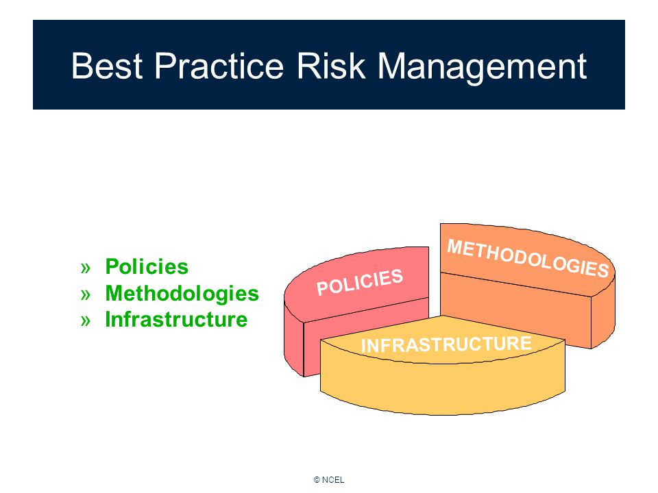 © NCEL Framework for Risk Management can be benchmarked in terms of: POLICIES METHODOLOGIES INFRASTRUCTURE Best Practice Risk Management »Policies »Methodologies »Infrastructure