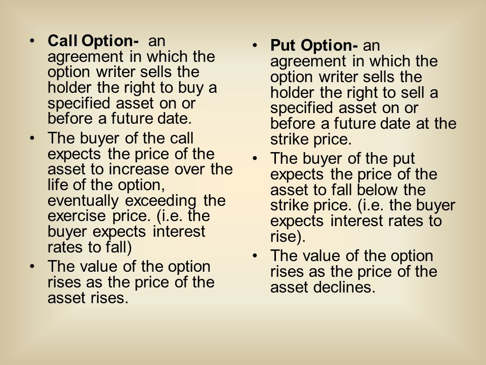 Call Option- an agreement in which the option writer sells the holder the right to buy a specified asset on or before a future date.