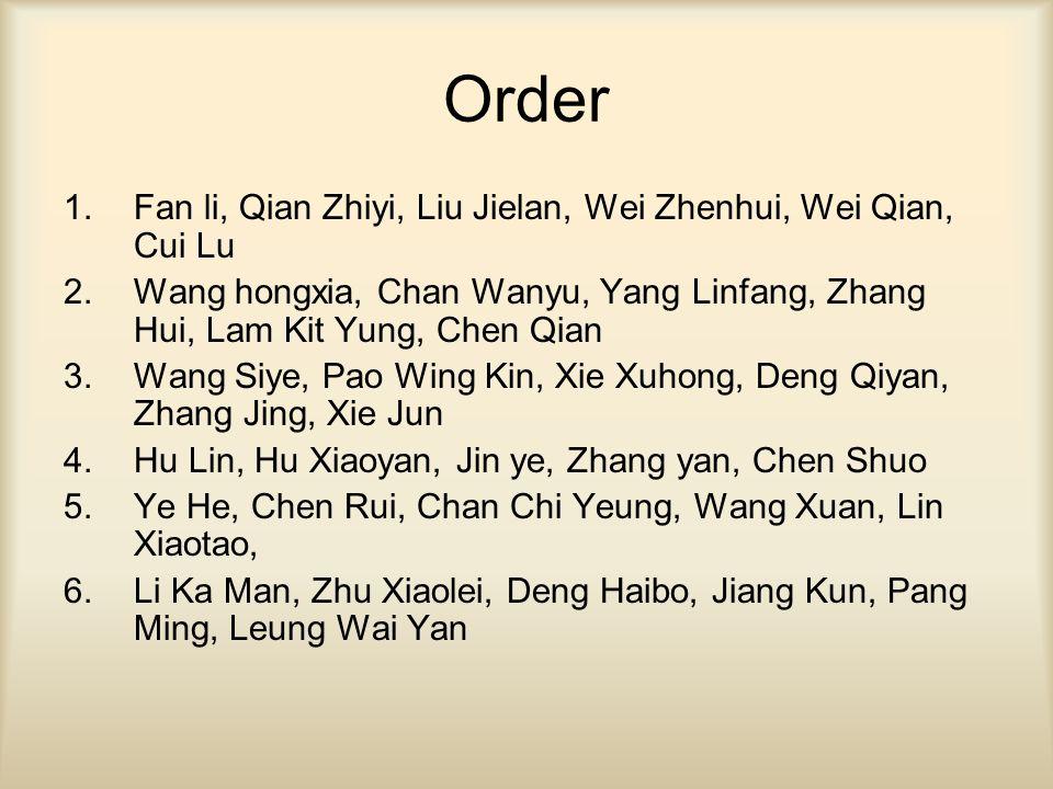 Order 1.Fan li, Qian Zhiyi, Liu Jielan, Wei Zhenhui, Wei Qian, Cui Lu 2.Wang hongxia, Chan Wanyu, Yang Linfang, Zhang Hui, Lam Kit Yung, Chen Qian 3.Wang Siye, Pao Wing Kin, Xie Xuhong, Deng Qiyan, Zhang Jing, Xie Jun 4.Hu Lin, Hu Xiaoyan, Jin ye, Zhang yan, Chen Shuo 5.Ye He, Chen Rui, Chan Chi Yeung, Wang Xuan, Lin Xiaotao, 6.Li Ka Man, Zhu Xiaolei, Deng Haibo, Jiang Kun, Pang Ming, Leung Wai Yan
