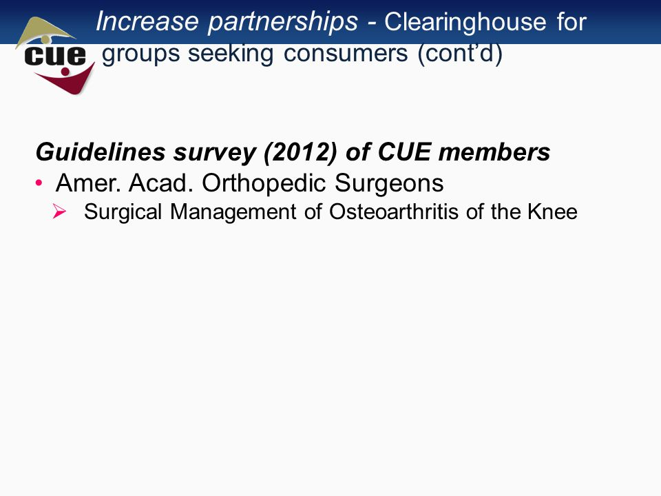 Increase partnerships - Clearinghouse for groups seeking consumers (cont'd) Guidelines survey (2012) of CUE members Amer.