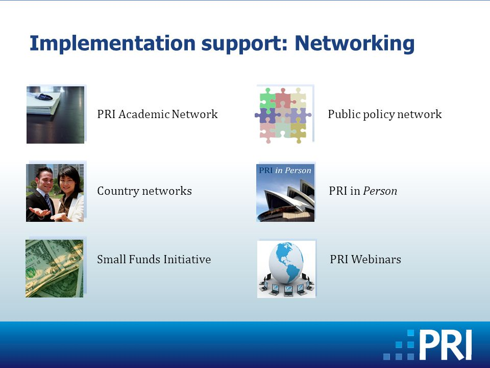 Implementation support: Networking PRI Academic Network Country networks Small Funds Initiative Public policy network PRI in Person PRI Webinars