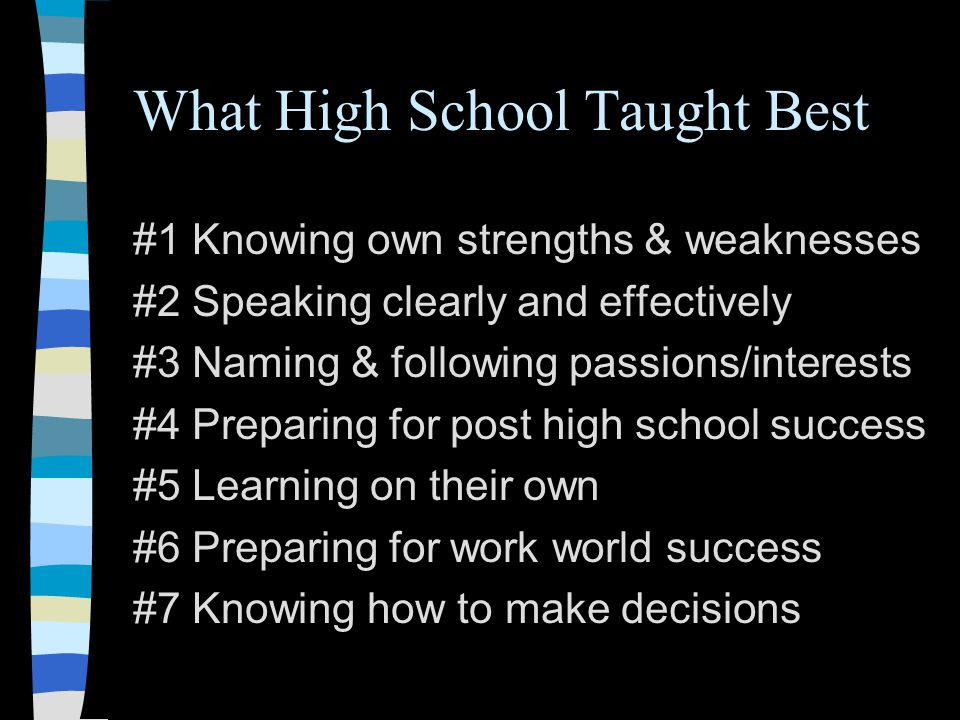 What High School Taught Best #1 Knowing own strengths & weaknesses #2 Speaking clearly and effectively #3 Naming & following passions/interests #4 Preparing for post high school success #5 Learning on their own #6 Preparing for work world success #7 Knowing how to make decisions