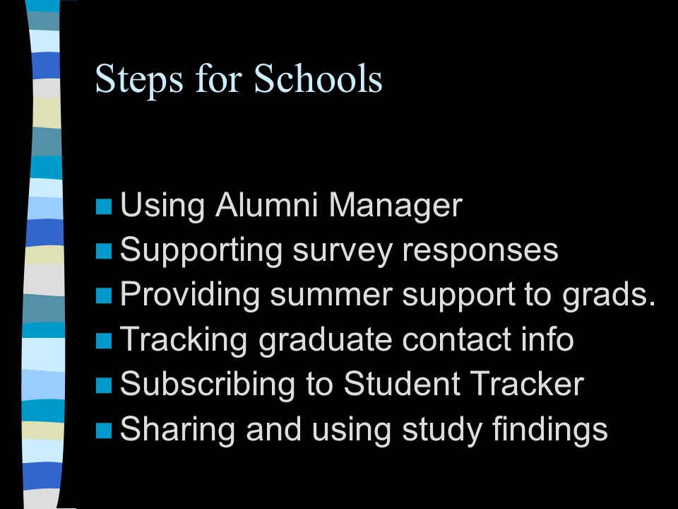 Steps for Schools Using Alumni Manager Supporting survey responses Providing summer support to grads.